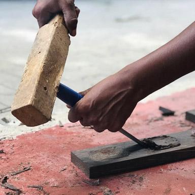 Herstellung Seifenschale Kithul Holz